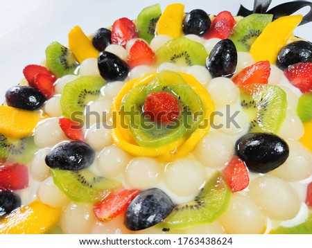 Blurry Picture of Large Pie Fruits Isolated on White Background. Blurry Background