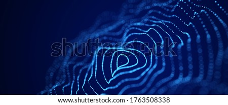 Abstract digital wave. Blue circular shape on the background. Futuristic point wave. Big data. 3D rendering.