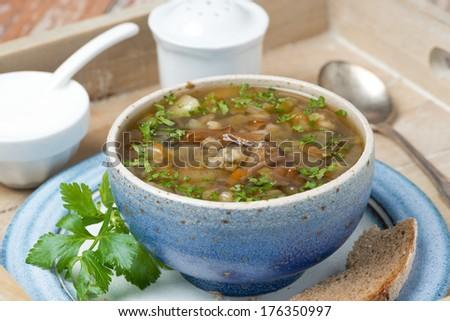 bowl of mushroom soup with pearl barley on a tray, close-up, horizontal #176350997