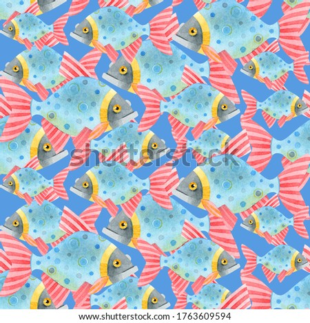 Watercolor seamless pattern of a flock of colorful fish. Cute funny carp fish. Hand drawn texture of an ornament on a blue background. Ideal for textiles, packaging, wallpaper, websites, postcards.
