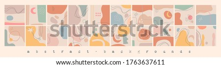 Big Set of Abstract backgrounds. Hand drawn doodle various shapes, lines, spots, drops, curves. Contemporary modern trendy Vector illustrations. Every background is isolated. Patterns, Wallpapers #1763637611