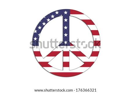 USA flag inside Peace symbol.