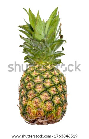 Exotic fruits and tropical diet concept with photograph of whole real pineapple fruit isolated on white background with clipping path cutout