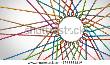 Business Unity and connection partnership as ropes shaped as a circle in a group of diverse strings connected together shaped as a support symbol expressing the feeling of teamwork and togetherness. Royalty-Free Stock Photo #1763861819