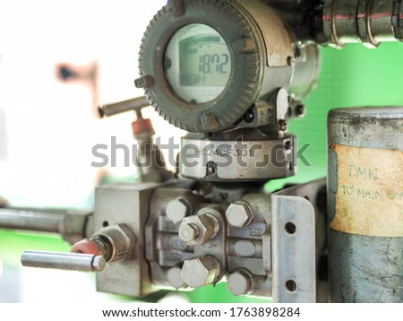 Pressure transmitter was installed in power plant. Royalty-Free Stock Photo #1763898284