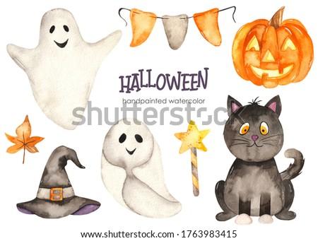 Black cat, ghosts, pumpkin, hat. Halloween hand drawn watercolor set. Kids clipart
