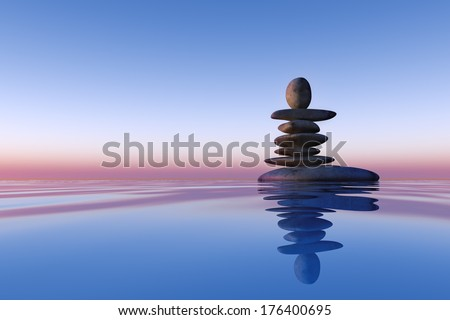 stacked stones on the water #176400695