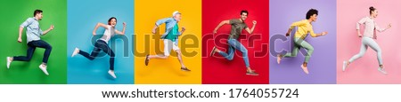 Summer shopping concept. Panoramic photo сollage of full body five diverse funny funky style afro trendy in good mood motion casual outfit crowd of people running to reach target isolated background
