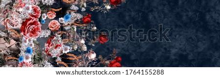 dark blue colored vintage flower design for printing