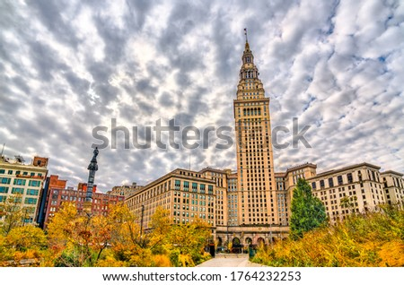 Terminal Tower built in 1930 in Downtown Cleveland - Ohio, United States
