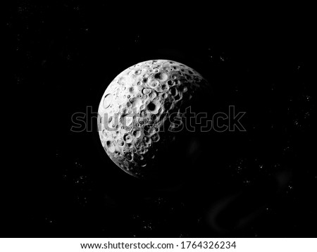 Stone planet with craters on black background with stars.  #1764326234