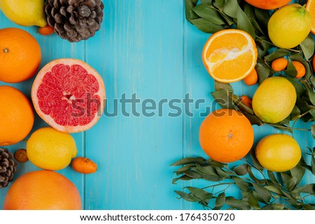 top view of citrus fruits as grapefruit lemon orange tangerine and kumquat on blue background decorated with leaves and pinecones #1764350720