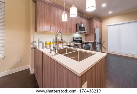 Luxury nicely decorated modern kitchen. Interior design of a brand new house. #176438219