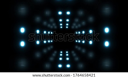 Moving futuristic tunnel with neon lights, Fantastic passageway with neon pulsating lights and reflections #1764658421