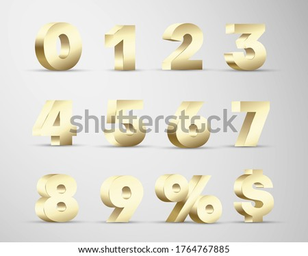 3d numbers golden luxury volumetric design. Digits from zero to nine, percent, dollar sign premium, deluxe realistic set for web, print advertising. Discount, sale numerals vector isolated collection. Royalty-Free Stock Photo #1764767885