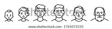 Portrait of a males at different ages, preschooler kid 1-5 years old, primary school age 6-9, senior school age 10-14, teenager 15-18, young man 19-30, average 40-50, elderly 60-80. black and white icon Royalty-Free Stock Photo #1765072535
