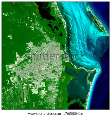 Aerial view of city Cancun Mexico. A beautiful city, beach, vegetation and the colors from turquoise to navy is appreciated. Generated from sensor sentinel.