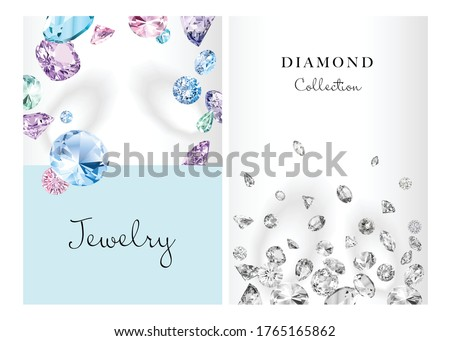 Posters set for jewelry advertisement. Background with vector diamonds for design