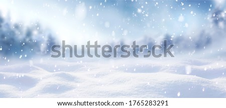 Beautiful winter background of snow and blurred forest in background, Gently falling snow flakes against blue sky, free space for your decoration. for your decorations. Wide panorama format. #1765283291