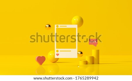 3D render Social Media with photo frame, like button and geometric shapes on yellow background illustration.