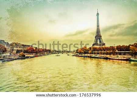 retro style picture of Paris with the river Seine and the Eiffel Tower