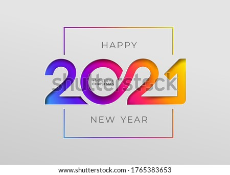 Happy new year 2021 elegant card in paper style for your seasonal holidays banners. Flyers, greetings, invitations, christmas themed congratulations. Vector illustration. Isolated on white background. #1765383653