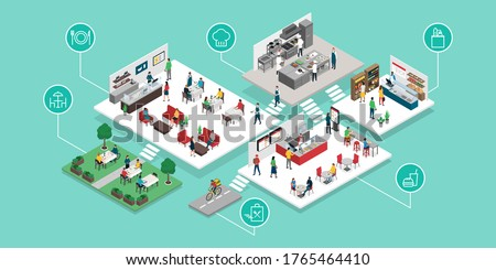 Food and restaurant industry and retail places isometric infographic: restaurant, fast food, professional kitchen, food shop and food delivery #1765464410