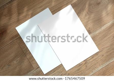 Multipurpose A4 format letterheads minimalist flat lay Mockup Royalty-Free Stock Photo #1765467509
