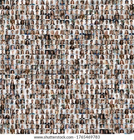 Lot of different multiracial people headshots portraits in square collage mosaic image. Many hundreds of diverse age and ethnicity people faces looking at camera collection. Social diversity concept. #1765469783