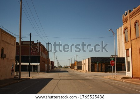 Empty Streets in Old Town of Hollis Oklahoma Royalty-Free Stock Photo #1765525436