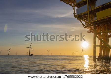 North Sea offshore wind farm Royalty-Free Stock Photo #1765583033