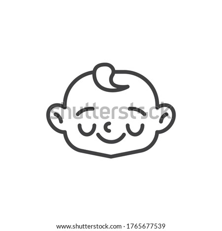 Shy baby face line icon. linear style sign for mobile concept and web design. Happy child face outline vector icon. Symbol, logo illustration. Vector graphics #1765677539