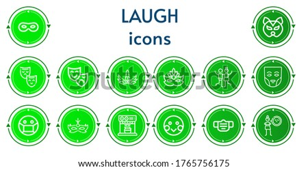 Editable 14 laugh icons for web and mobile. Set of laugh included icons line Mask, Theatre mask, Joy, Expresso, Shy, Cynicism #1765756175