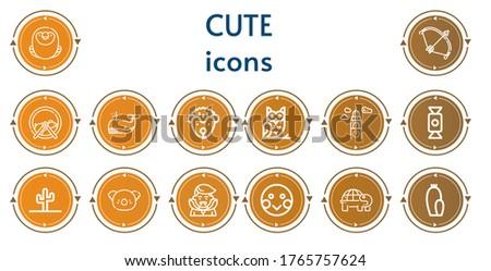Editable 14 cute icons for web and mobile. Set of cute included icons line Macaw, Bow, Hamster ball, Whale, Hedgehog, Owl, Croatia, Candy, Cactus, Koala, Dracula, Shy, Turtle #1765757624