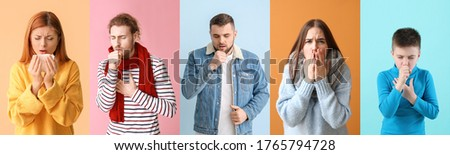 Ill people on color background