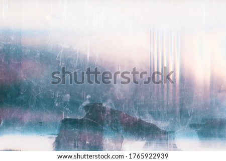 Dust scratches overlay. Vintage effect. Blue pink faded noise on white abstract background. Royalty-Free Stock Photo #1765922939
