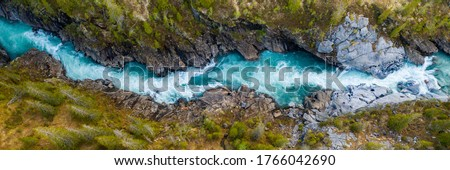 Aerial Vertical View Over The Surface Of A Mountain River Glomaga, Marmorslottet , Mo i Rana Royalty-Free Stock Photo #1766042690