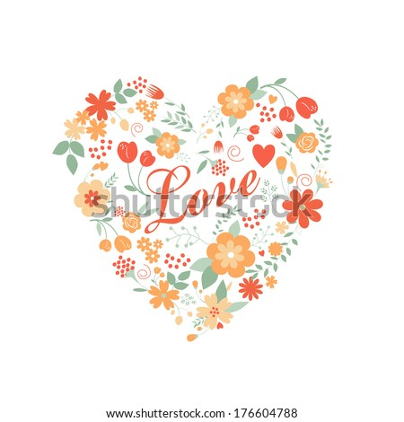 Floral arranged a shape of the heart, perfect for wedding invitations, mother's or birthday designs  #176604788