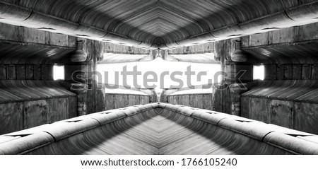 structure of public building similar to Sci-Fi movie futuristic terminal of spaceship station interior. modern inspiration for architecture. abstract background and building concept