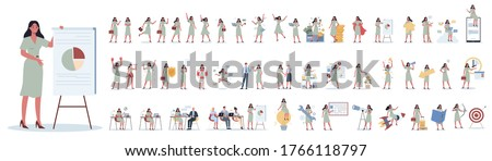 Set of business woman or office worker character with various poses, face emotions and gestures. Talking on the phone, sitting and making presentation. Isolated flat vector illustration Royalty-Free Stock Photo #1766118797