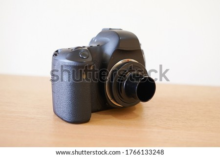 Dslr or mirrorless camera with T ring mount adapter to moon telescope for astrophotography #1766133248