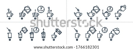 Tea and coffee brewing instruction. Tea, coffee making, brew process icons. Hot drink brew instruction. Cup, mug, kettle, teapot icons. How to make hot drink with milk. Vector illustration #1766182301