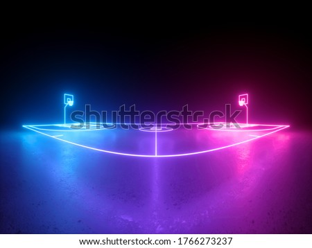 3d render, neon basketball field scheme wide screen side view, virtual sport playground, sportive game, pink violet blue glowing line. Isolated on black background.