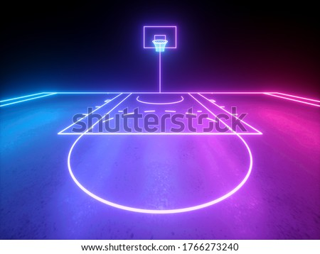 3d render, violet blue glowing neon light, part of the basketball virtual playground, frontal view, sport field scheme, sportive game. Isolated on black background.