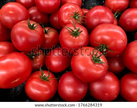 Macro Photo food vegetable red tomato. Texture background ripe juicy big tomatoes. Product Image Vegetable Red tomato #1766284319