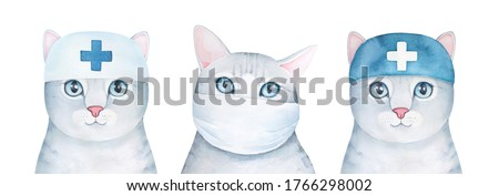 Illustration set of different cat characters wearing surgery face mask and hat with medical cross sign. Hand drawn watercolour graphic paint on white background, isolated clip art elements for design.