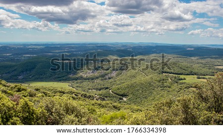 View on the Hérault county in the south of France from the top of the Pic Saint Loup