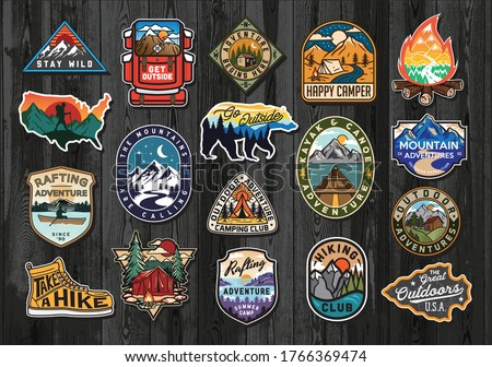 Set of Vintage Outdoor Summer Camp Logo Patches on Wood board. Hand drawn and vector emblem designs. Great for shirts, stamps, stickers logos and labels. #1766369474