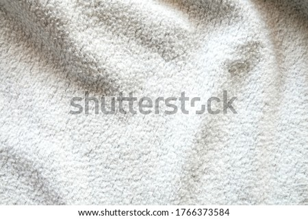 Close up shot of White soft wool fabric texture with natural light effect and shadow, Background, wallpaper concept, #1766373584
