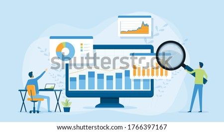 Flat vector design statistical and Data analysis for business finance investment concept with business people team working on monitor graph dashboard  #1766397167